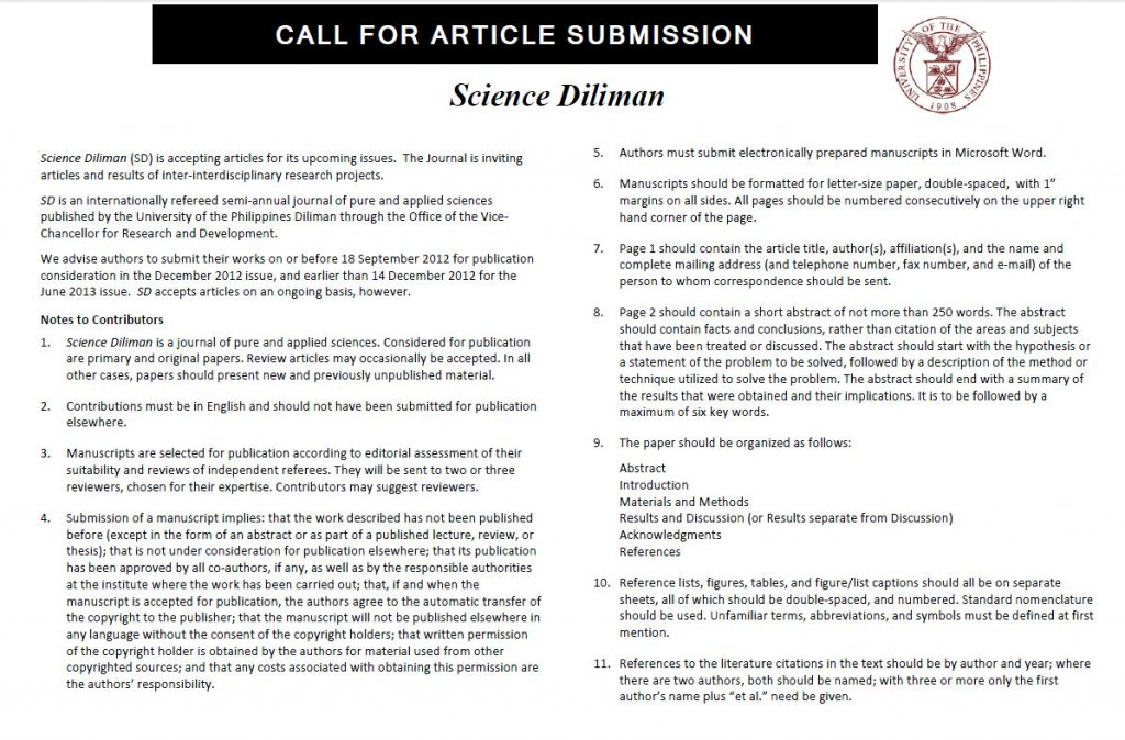 Call for Article Submission: Science Diliman