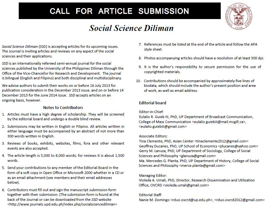 Call for Article Submission: Social Science Diliman