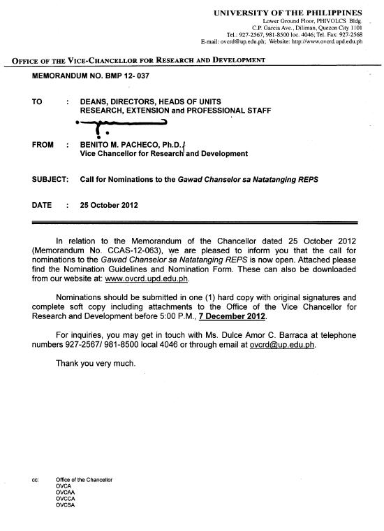Memos : Office of the Vice Chancellor for Research & Development ...