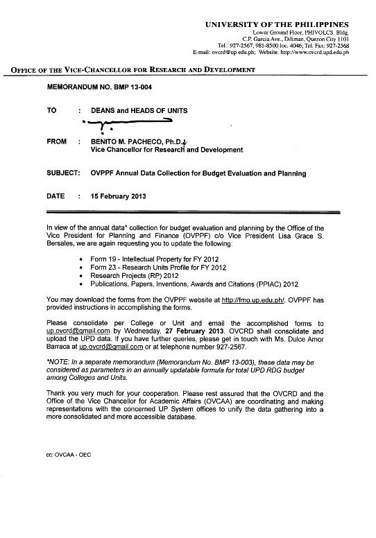 Memorandum No. BMP 13-004: OVPPF Annual Data Collection for Budget Evaluation and Planning