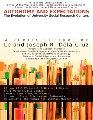 Public Lecture on Autonomy and Expectations: The Evolution of University Social Research Centers by Leland Joseph R. Dela Cruz