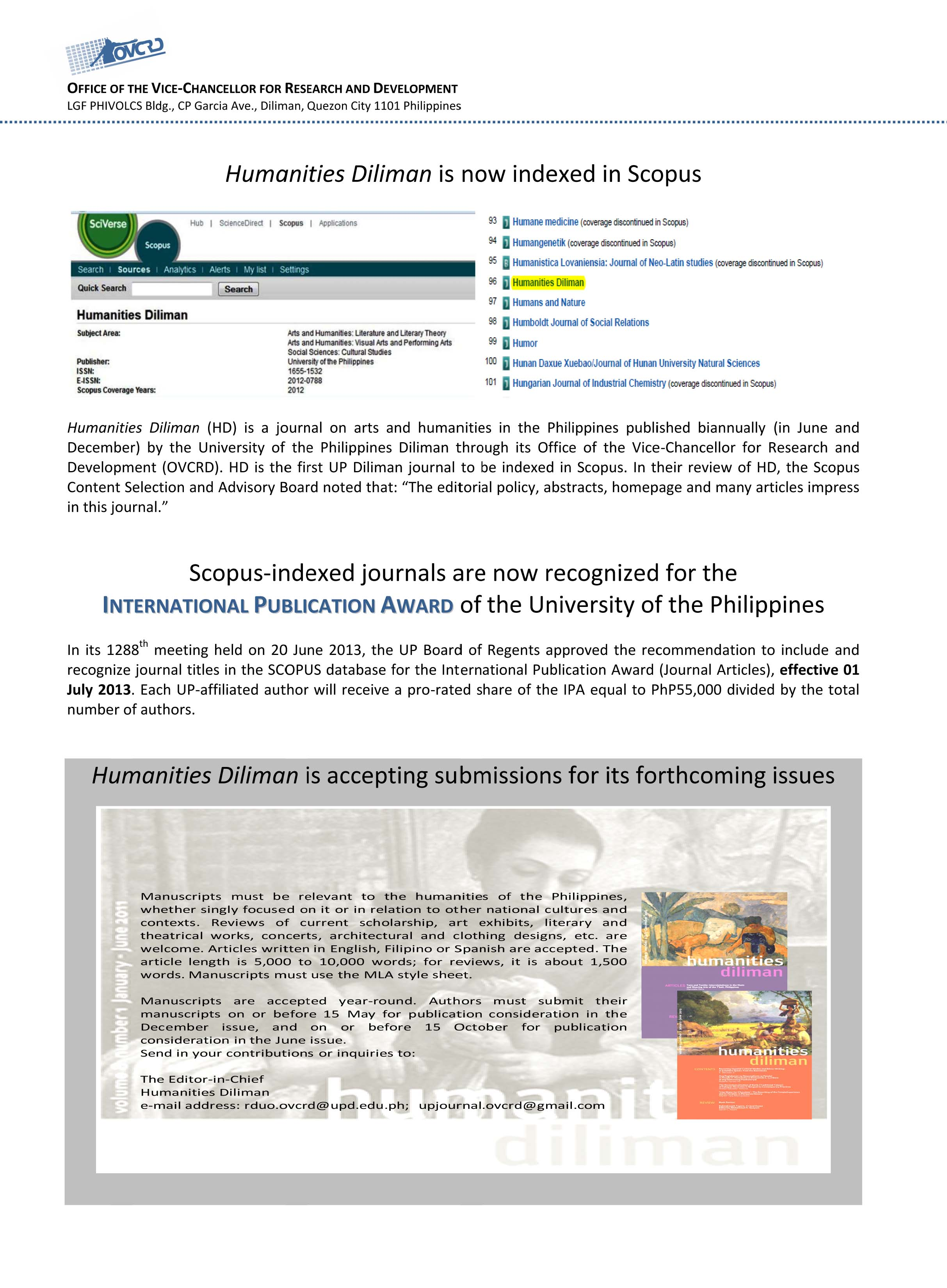Scopus-indexed journals are now recognized for the International Publication Award of the University of the Philippines
