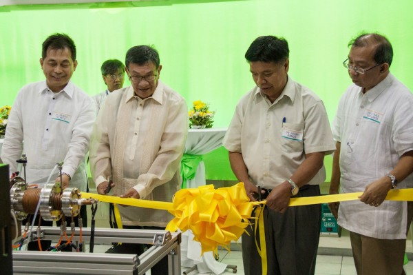 Dr. Benito Pacheco (UP Diliman Vice-Chancellor for Research and Development), Engr. Alfonso Azurin (President, ASET Corp.), Dr. Henry Ramos (Inventor), and Engr. Raul Sabularse (Deputy Executive Director, PCIEERD) lead the ribbon-cutting ceremony during the launch of CoaTiN® on 2 April 2014 at the CoaTiN® Facility site in Taguig City. (OVCRD file photo)
