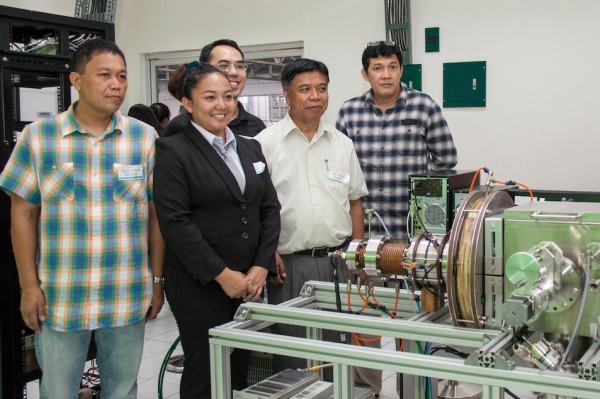 The CoaTiN® facility and technology team (from left): Engineer Erwin Abergas (ASET), Ms. Michelle Villamayor (NIP), Mr. Henry Lee (NIP), Dr. Henry Ramos (Inventor), Mr. Marcedon Fernandez (NIP). (OVCRD file photo)