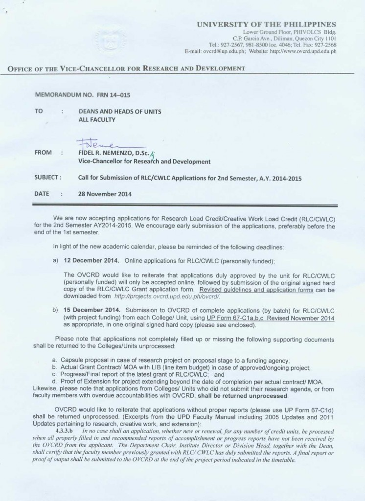 Memorandum: FRN 14-015 Call for Submission of RLC/CWLC Applications for 2nd Semester, A.Y. 2014-2015
