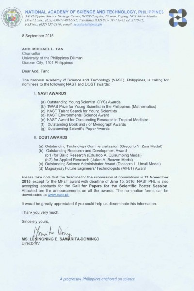 Call for Nominees_NAST and DOST awards