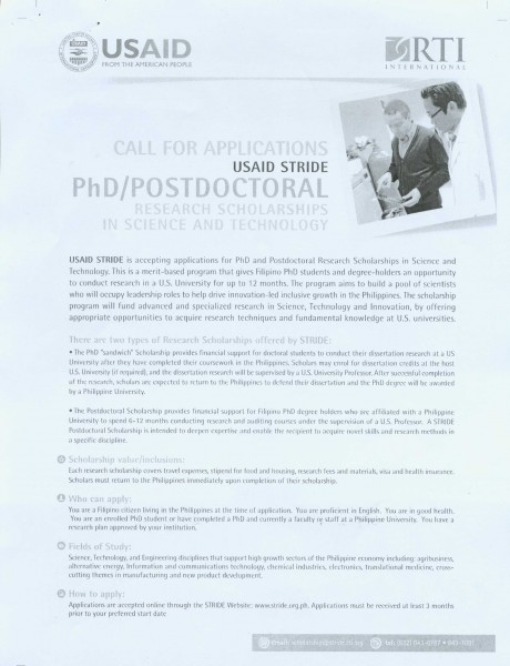 Call for application for the USAID STRIDE PhD.Postdoctoral   Research Scholarships in S & T_Page_2