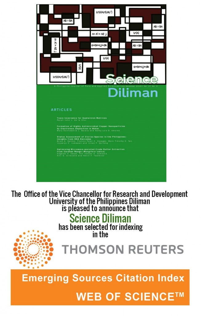 Science Diliman: Now in the Emerging Sources Citation Index, Web of Science