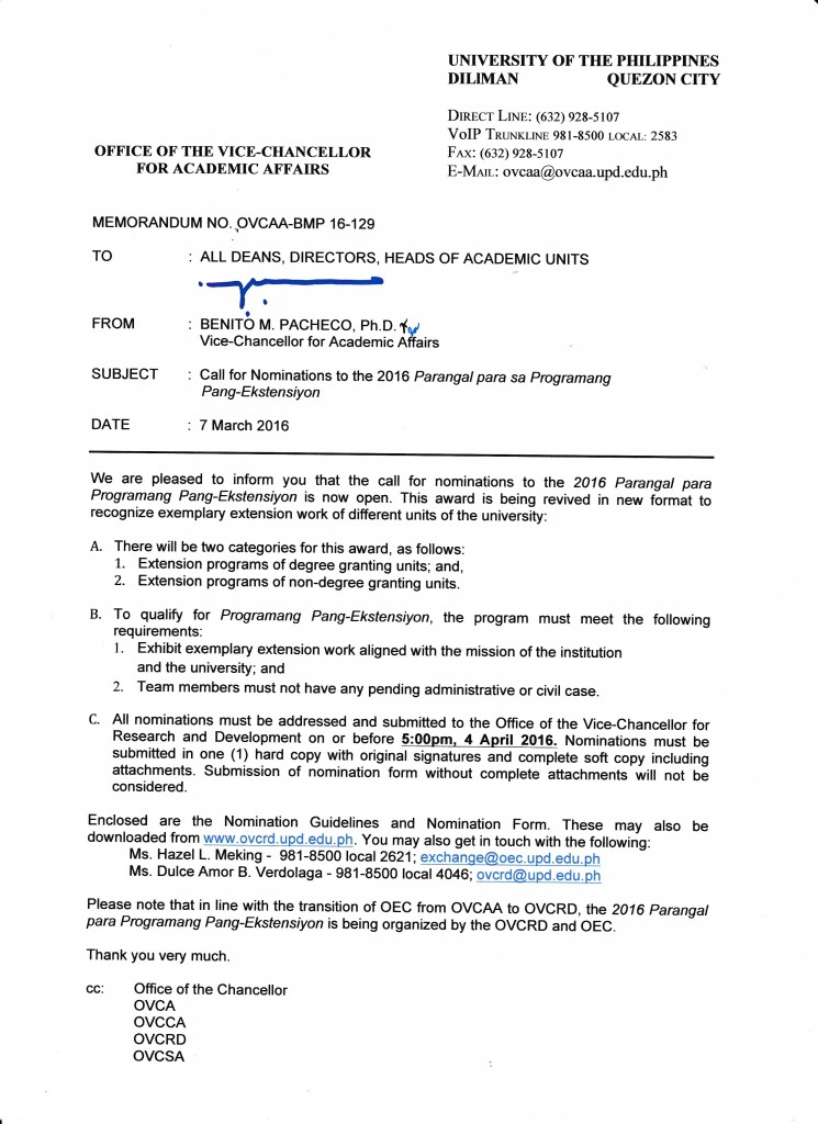Memorandum No. OVCAA-BMP 16-129 Call for Nominations to the 2016 Parangal para sa Programang Pang-Ekstensiyon