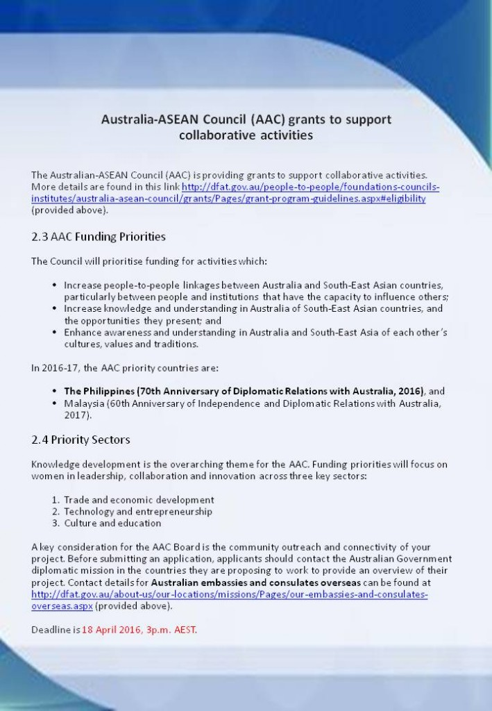 Australia-ASEAN Council (AAC) grants to support collaborative activities