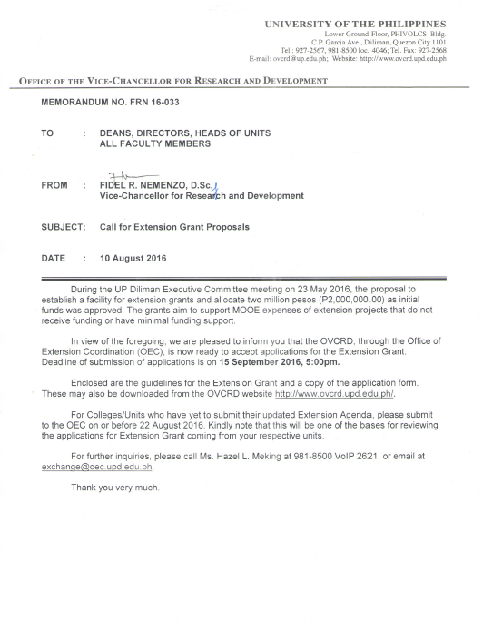 MEMO No. FRN 16-033: Call for Extension Grant Proposals