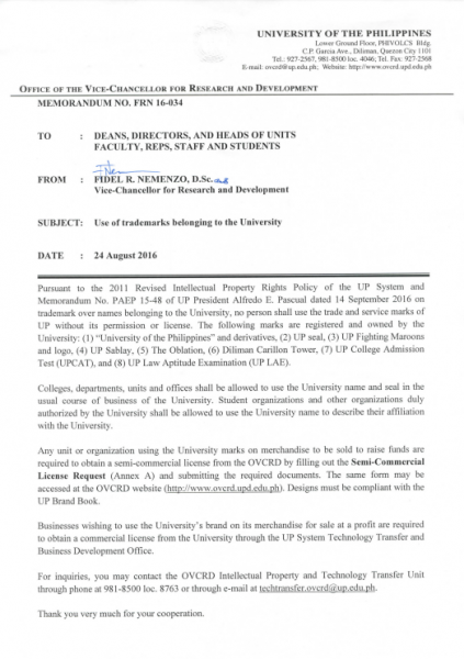 MEMO No. FRN 16-034: Use of trademarks belonging to the University