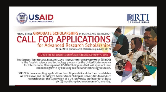 USAID STRIDE Graduate Scholarships in Science and Technology Call for Applications for Advance Research Scholarships