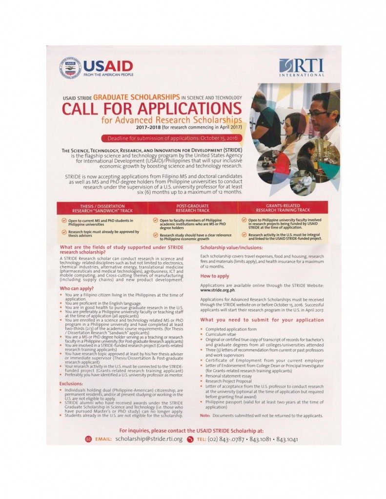 USAID STRIDE Graduate Scholarships in Science and Technology Call for Applications for Advanced Research Scholarships 2017-2018 (for research commencing in April 2017)